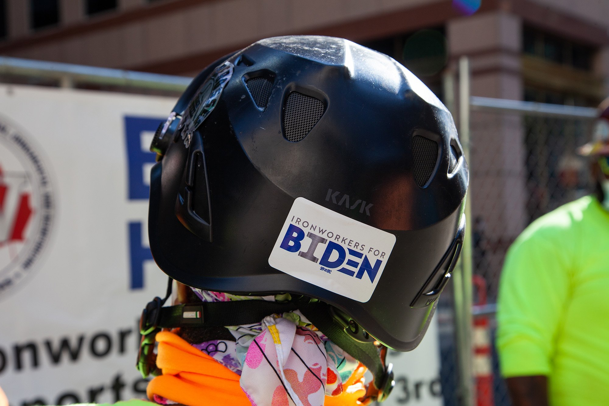"""Local 7 members joined union construction workers from across the region at a """"Hardhats for Biden/Harris"""" event in October 2020."""
